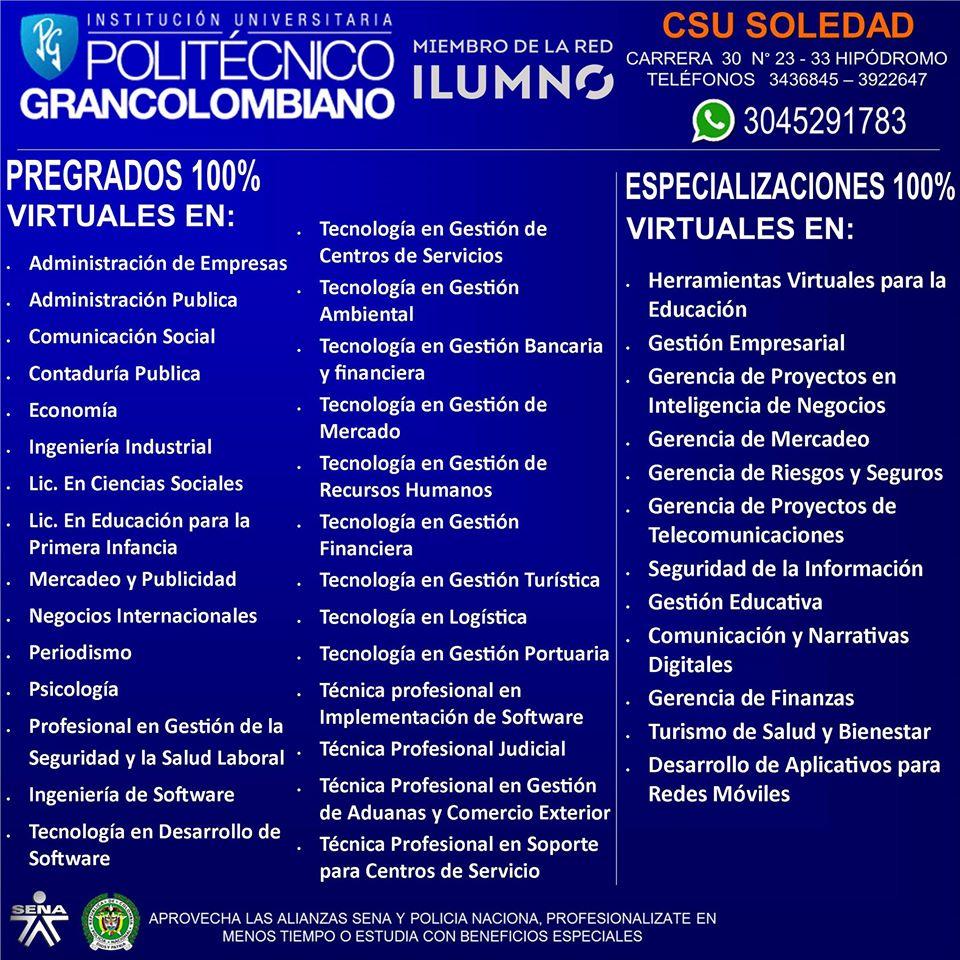POLITÉCNICO GRAN COLOMBIANO PROGRAMAS