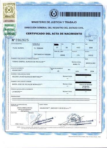 certificado literal de nacimiento donde se pide